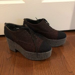 Chanel High Platform Wool Oxford Lace Shoes